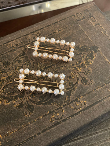 Hepburn Set Of Two Rectangle Pearl Hair Clips
