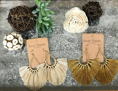 Teardrop Fanned Tassel Earrings