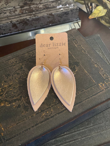 Metallic Double Leather Leaf Earring