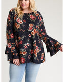All For Love Curvy Floral Belled Long Sleeve Shirt