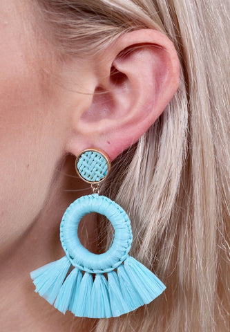 Rolly Raffia & Tassel Earrings
