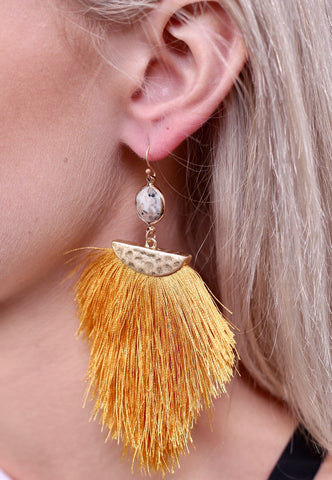 Lukas Stone & Tassel Earrings
