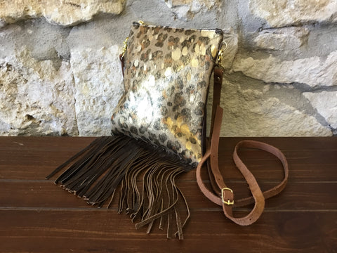 Fringing For Gold Leather Crossbody