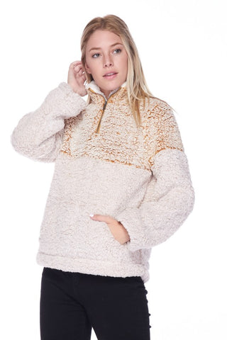 Magical Time of Year Colorblock Sherpa Pullover