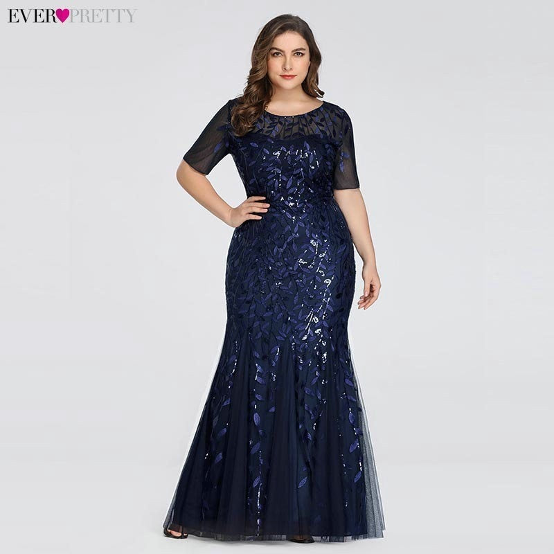 Plus Size Dresses Saudi Arabia Ever Pretty Mermaid Sequined Lace Appliques  Mermaid Long Dress