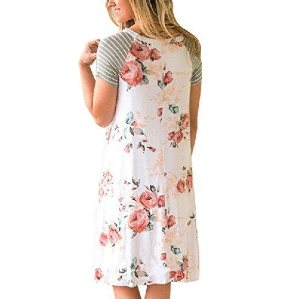 cdf02fbd38 ... Floral Print Casual Short Sleeve A-Line Loose T-Shirt Dress -  TruePetShop ...