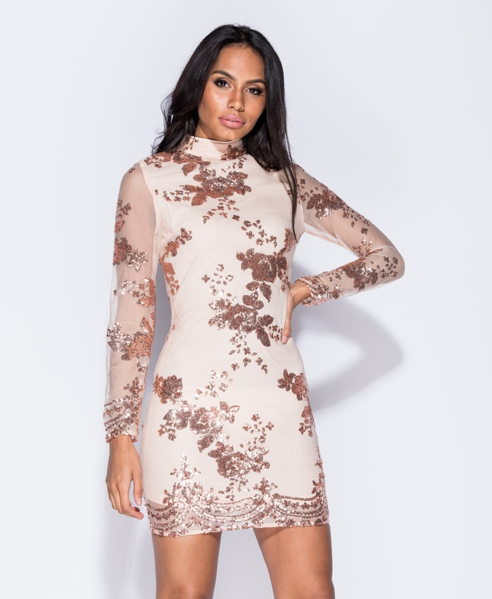 Nude High Neck Dress