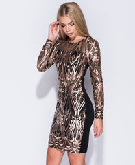 Sequin Mini Dress Bodycon With Long Sleeves
