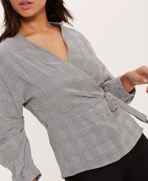 Plaid Tie Up Blouse
