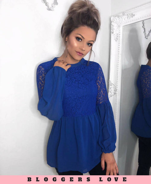 Blue Lace Chiffon Top