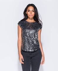 Black/Silver Sequin Top