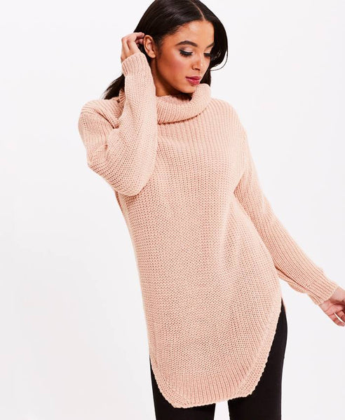 Peach Roll Neck Jumper