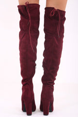 Wine Faux suede over the knee heeled boots