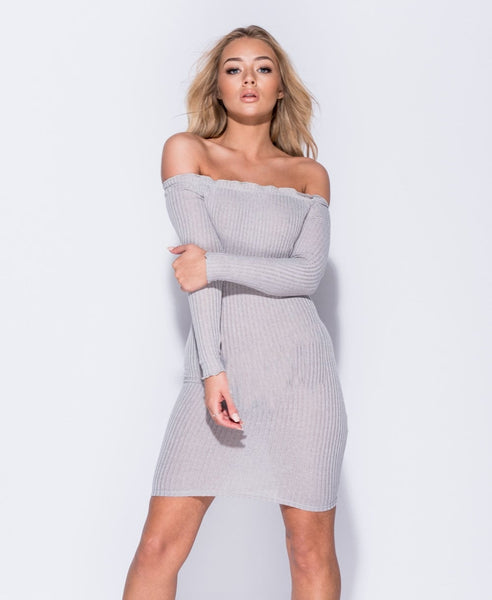 Light Grey Skinny Rib Bardot Bodycon Dress
