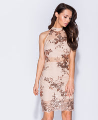 Nude Sequin Mini Dress
