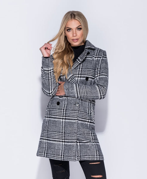Black/White Checked Coat