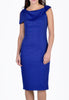 Blue Midi Slash Neck Dress