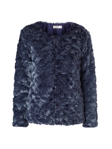 Lavand Navy Faux Fur Jacket