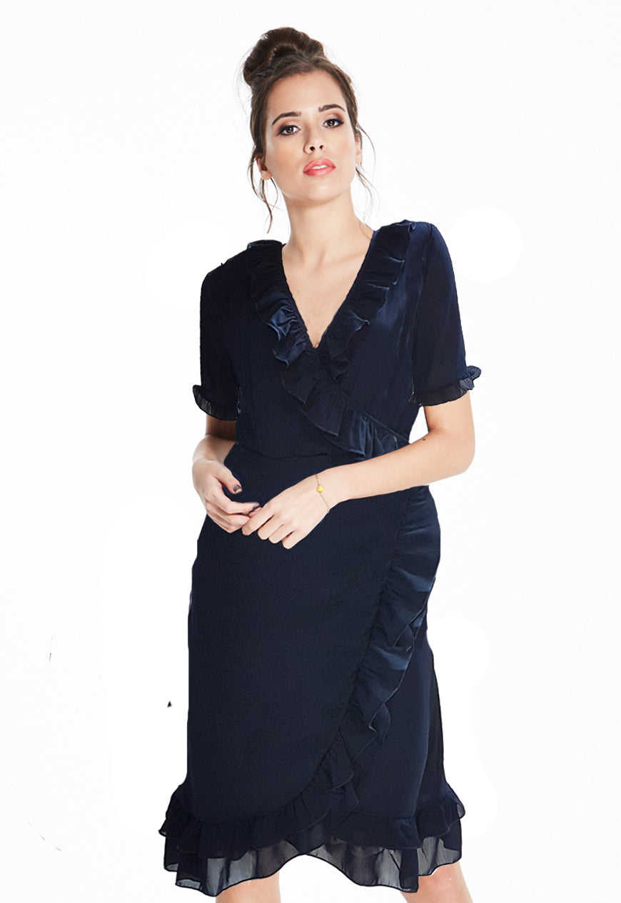 Navy Ruffle Wrap Dress