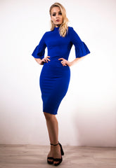 Blue Fluted Sleeve Dress