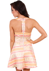 Jacquard Cut Out Skater Dress
