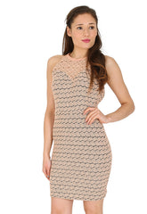 Cross Back Jacquard Bodycon Dress