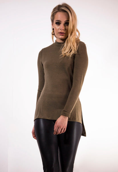 Khaki Turtle Neck Jumper