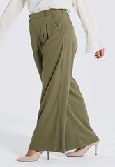 Khaki Wide Leg Trousers