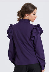 Purple Frill Sleeve Shirt