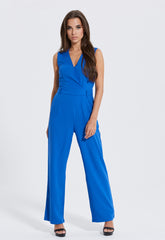V neck blue jumpsuit