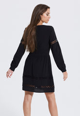 Crochet Insert Black Dress