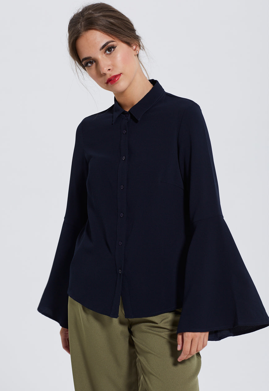 Exaggerated cuff blouse