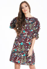 Floral Frill Sleeve Dress