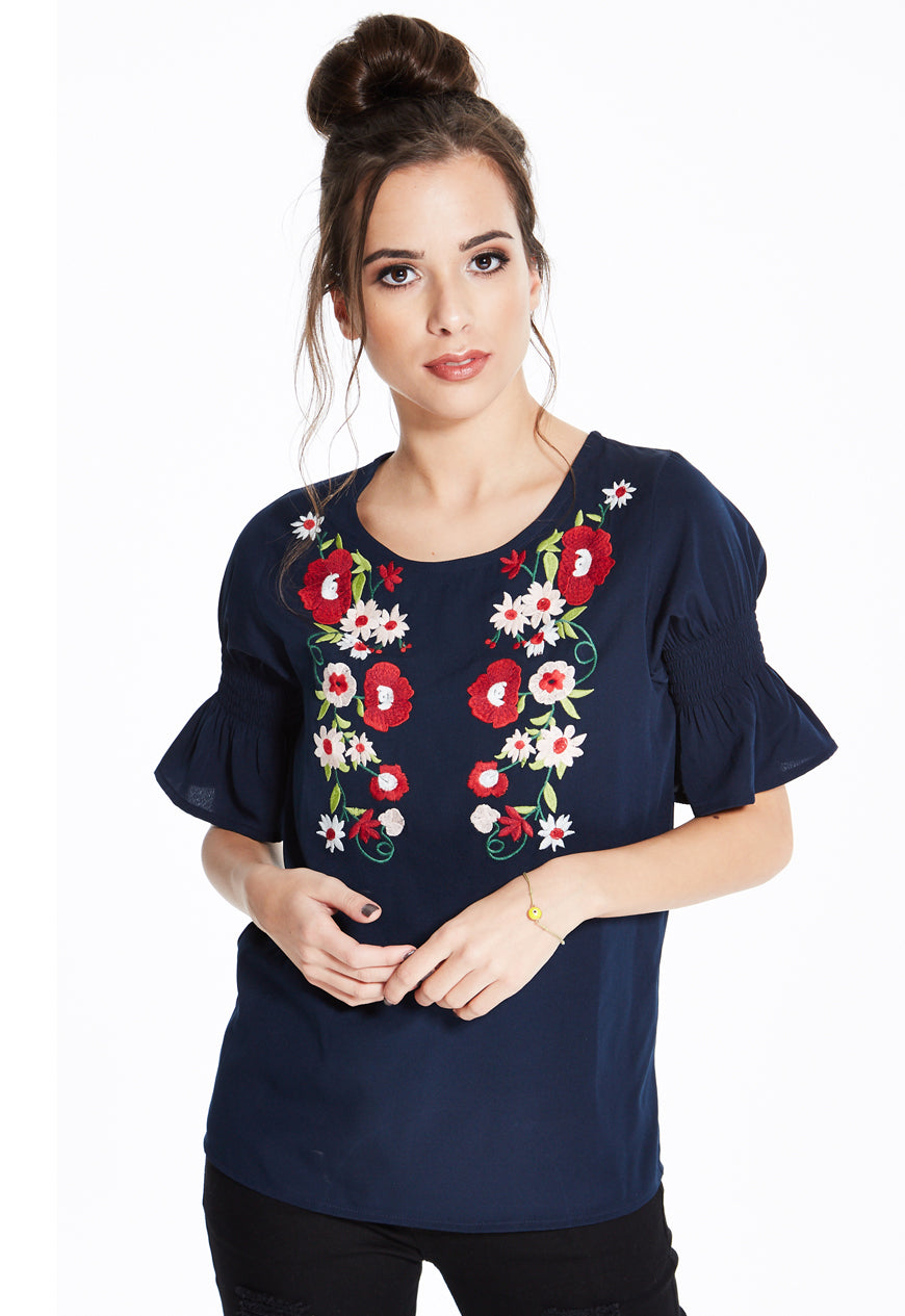 Embroidered Navy Top