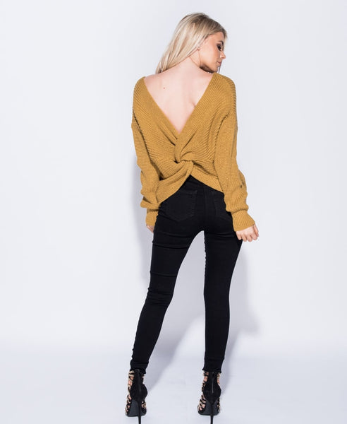Mustard V Neck Jumper