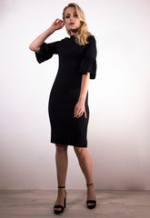 Black Fluted Sleeve Dress