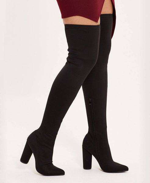 Black Womens Over The Knee Lycra Black Boots