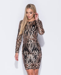 Black/Beige Sequin Dress