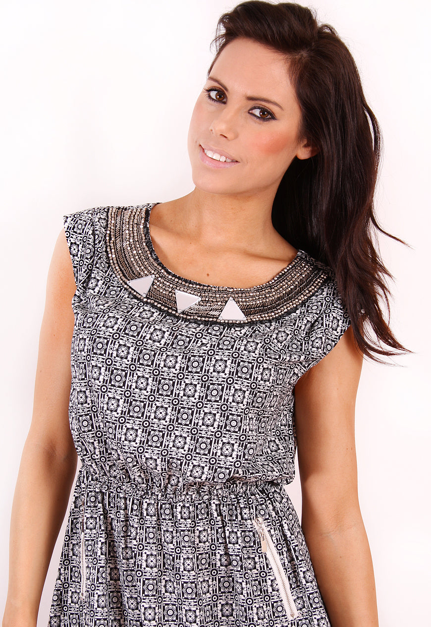 Black aztec dress