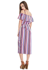 Stripe Bardot Midi dress