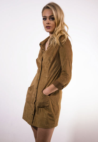 Suede Shirt Dress