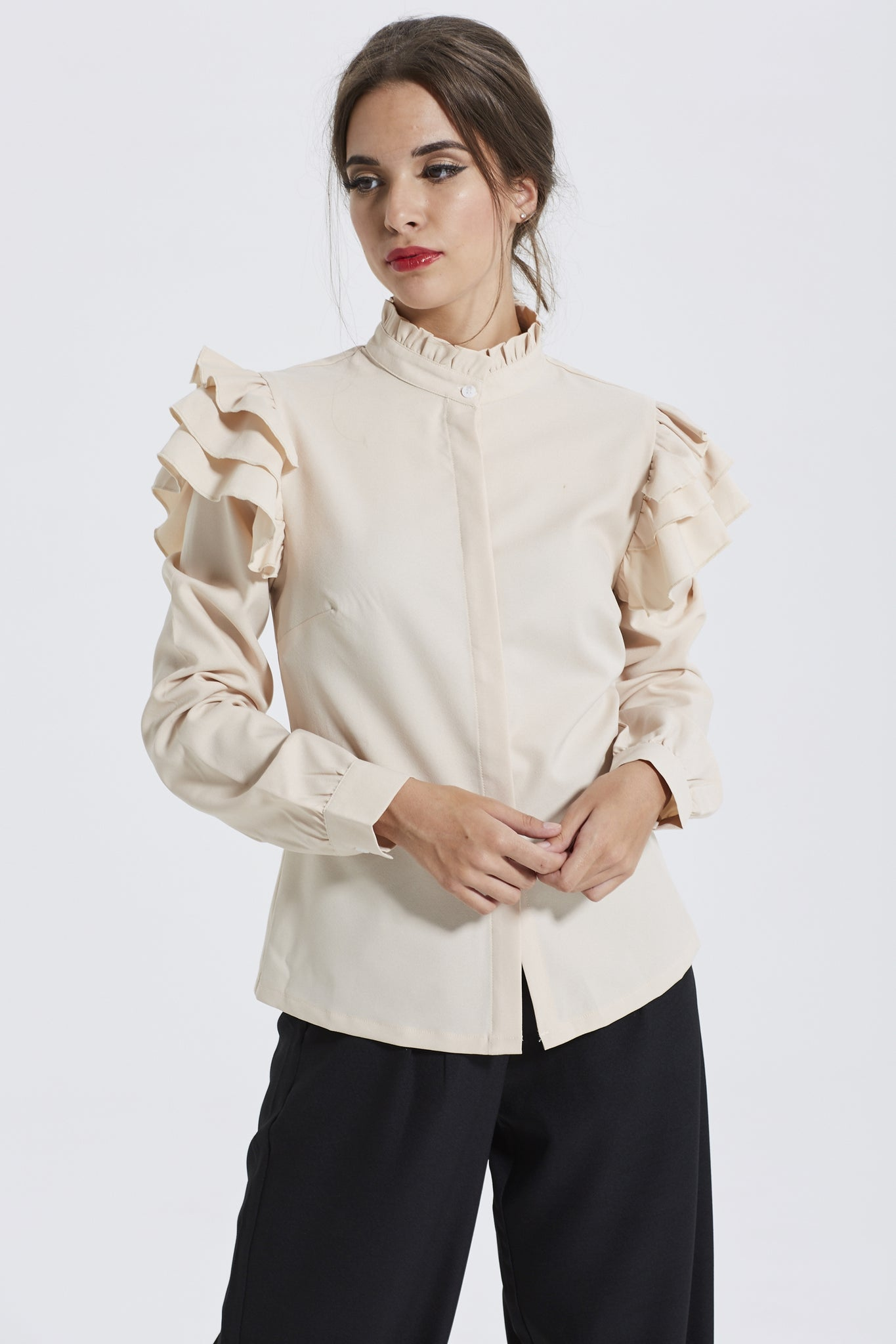 Frilled Shoulder Blouse