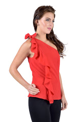 One shoulder bow top