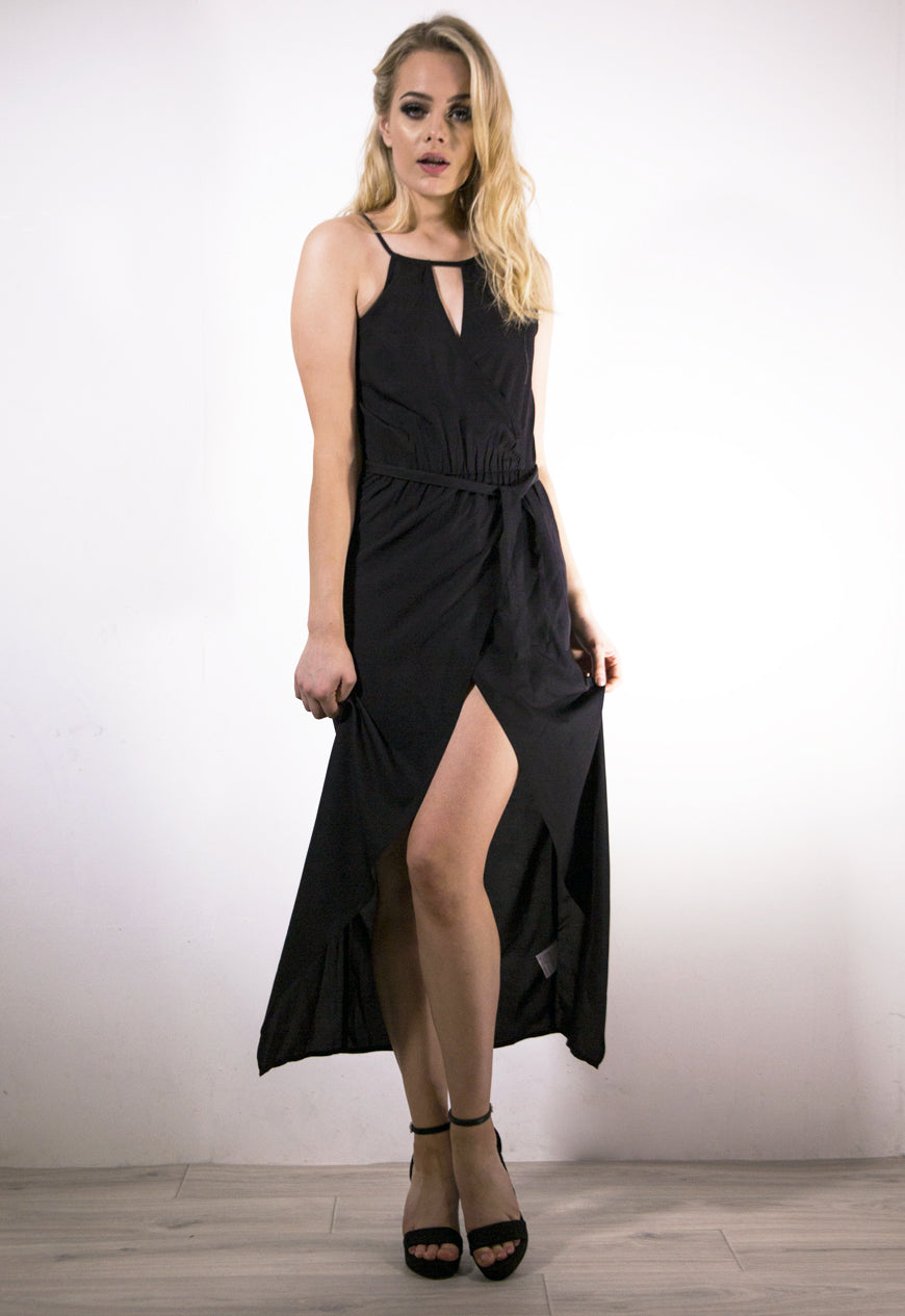 Black Split Front Dress
