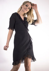 Frill Detail Wrap Dress