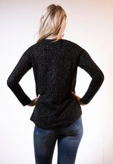 Black Jumper with metallic gold thread