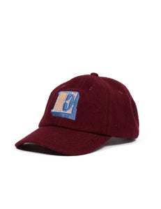 Shutter E Wool Baseball Cap  - Burgundy - Eine London by Ben Eine