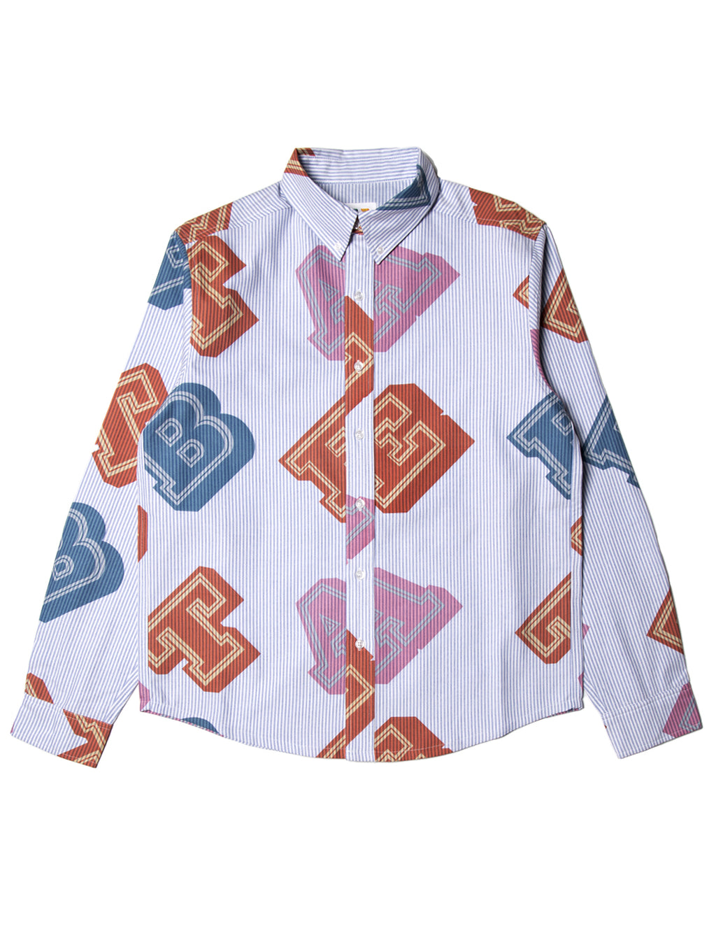 All-Over Type Pinstripe Shirt - Blue/White - Eine London by Ben Eine