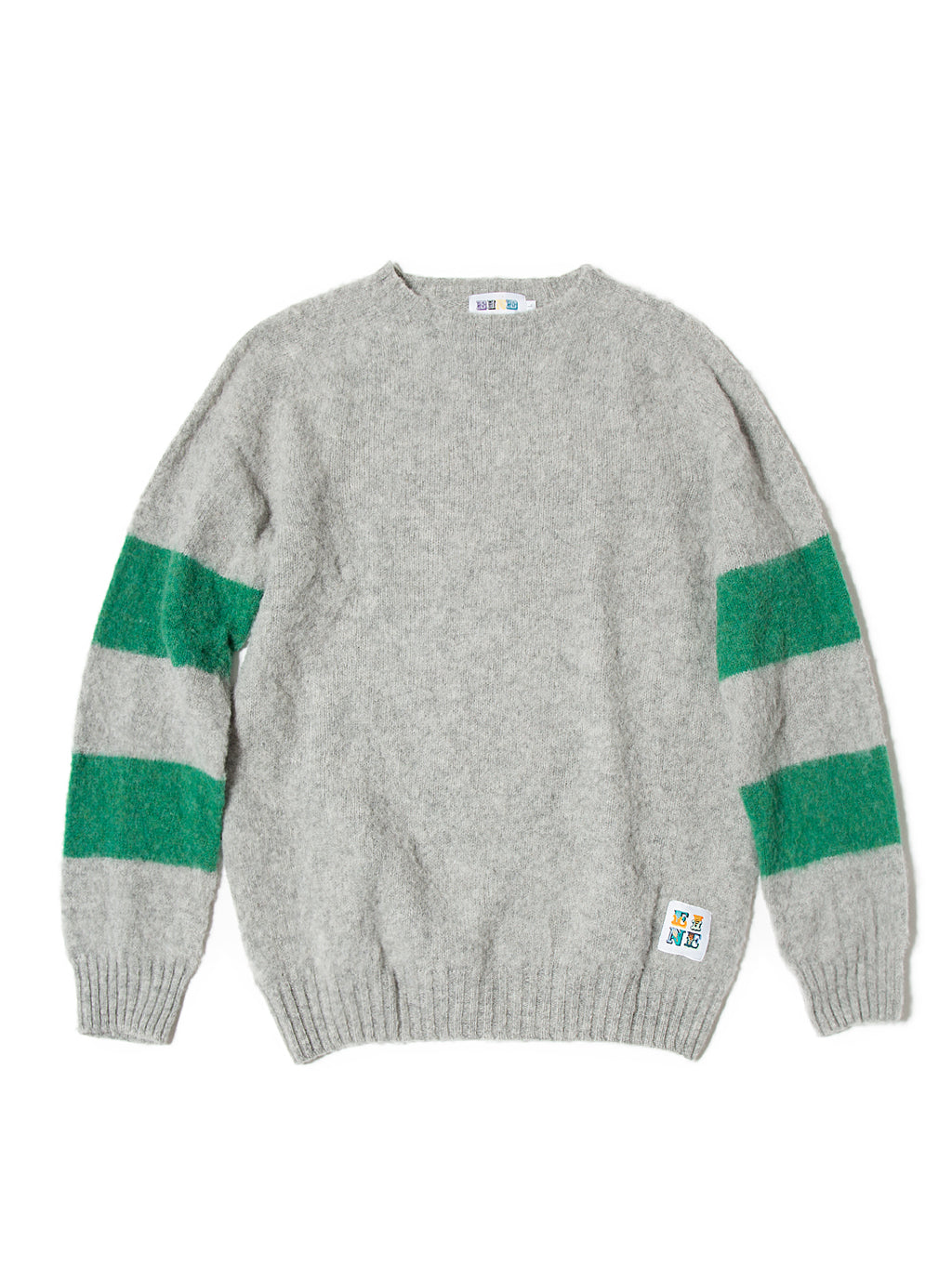 EINE Contrast Brushed Wool Jumper - Grey Green Sample