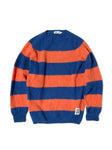 EINE Contrast Brushed Wool Jumper - Blue Orange Stripe Sample